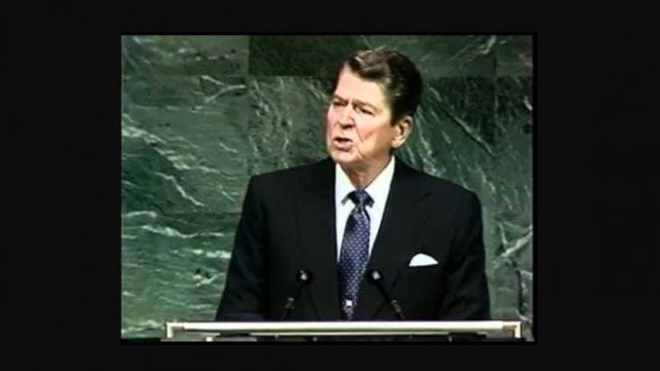 "Ronald Reagan's Own Handwriting Emphasizes Importance of ""alien threat"" Reference in UN Speech, 1987"