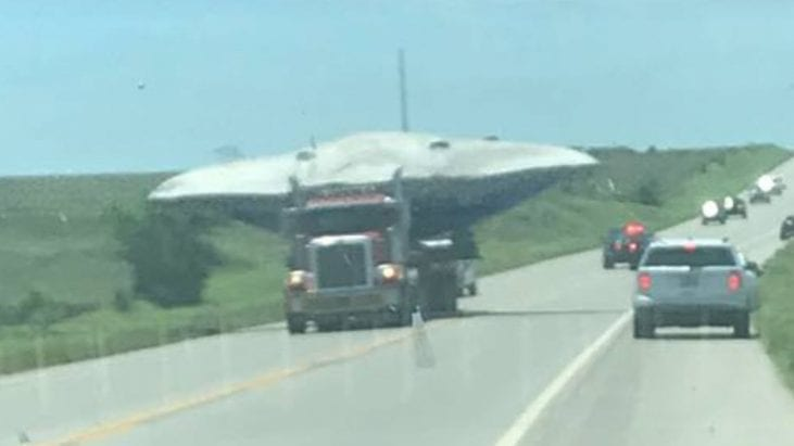 UFO Type Craft Seen Hauled on Large Semi Truck in Ponca City, Oklahoma
