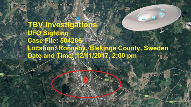 UFO over Ronneby, Blekinge County, Sweden – December 11, 2017