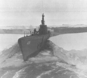 "From 10 December 1946 to 13 March 1947, Sennet (SS-408) participated in Operation ""Highjump,"" the third Byrd Antarctic Expedition. USN photo courtesy of Artic Submarine Laboratory, text courtesy of DANFS."