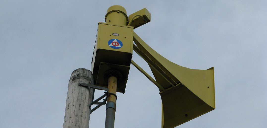 Civil Defense logo on a Thunderbolt 1003 siren.