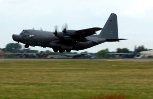 ROYAL AIR FORCE LAKENHEATH, England -- An MC-130H Combat Talon II takes off from the flightline here May 20. The MC-130H is assigned to the 352nd Special Operations Group at Royal Air Force Mildenhall, England. (U.S. Air Force photo by Staff Sgt. Tony R. Tolley)