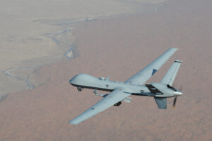 An MQ-9 Reaper unmanned aerial vehicle flies a combat mission over southern Afghanistan.
