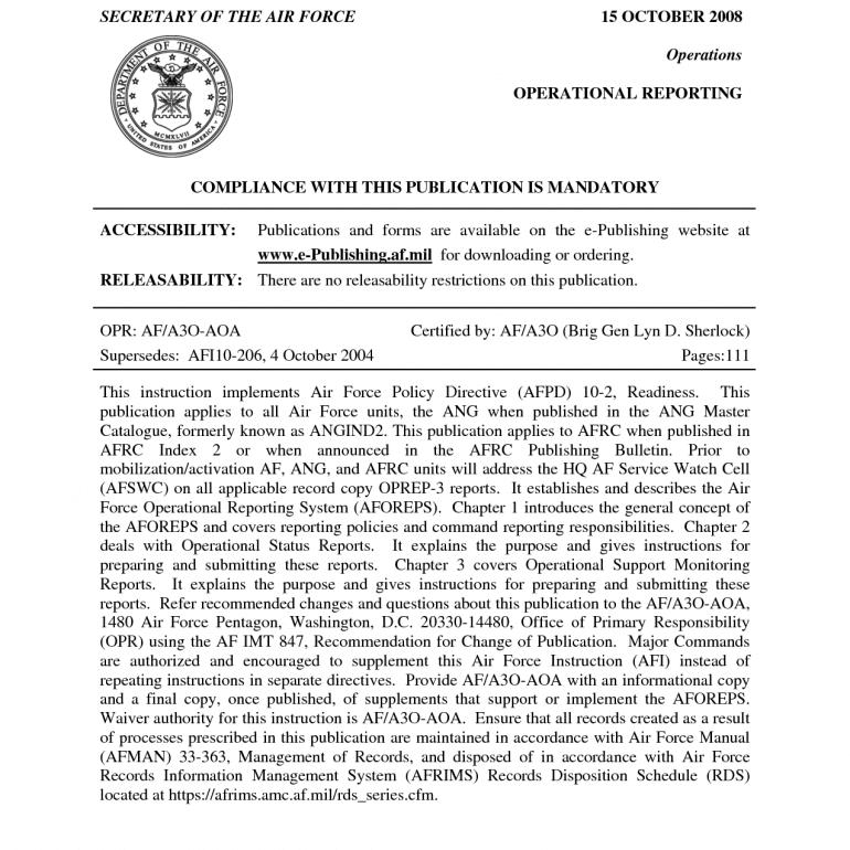 UFO Reporting Procedures & Regulations