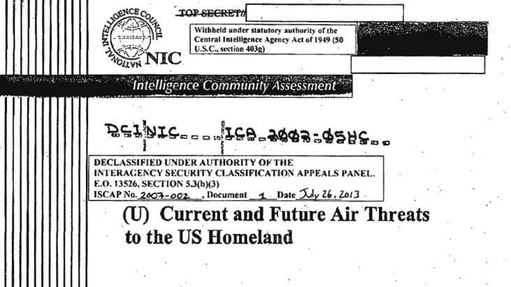 The Current and Future Air Threats to the US Homeland (ICA 2001-O5HC), published July of 2002