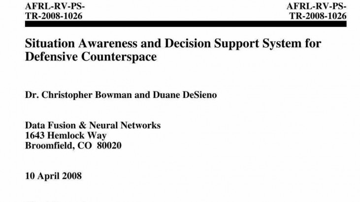 Situation Awareness and Decision Support System for Defensive Counterspace