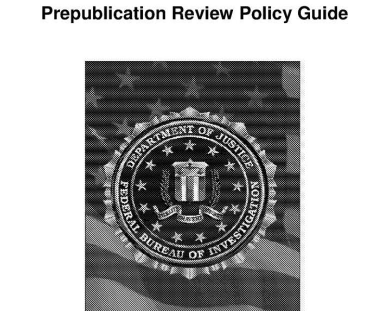 2015 Pre-Publication Review Policy Guide, Federal Bureau of Investigation (FBI)