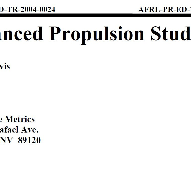 Advanced Propulsion Study, February 2004