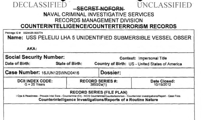 Naval Criminal Investigative Service (NCIS) Documents on Unidentified Submerged Objects or USOs