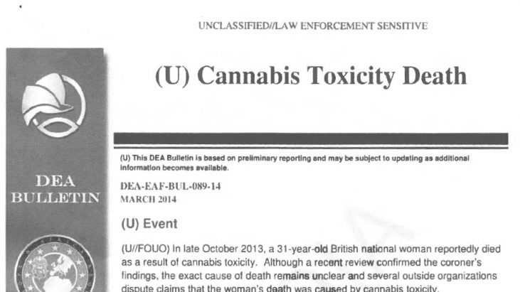 DEA Bulletin BUL-089-14 – Cannabis Toxicity Death, March 2014