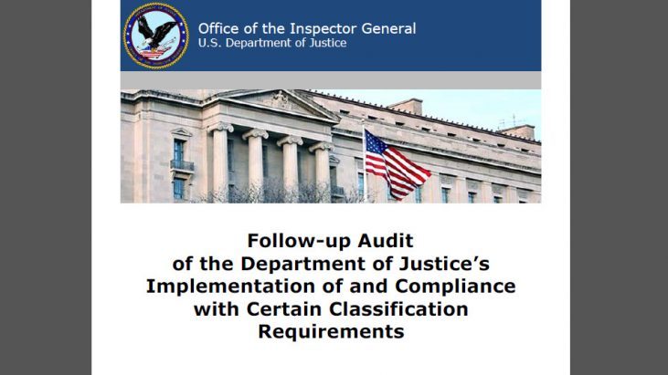 Follow-up Audit of the Department of Justice's Implementation of and Compliance with Certain Classification Requirements, September 2016