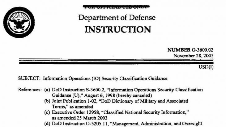"DoD Instruction 0-3600.02 ""Information Operations (IO) Security Classification Guidance,"" November 28, 2005"