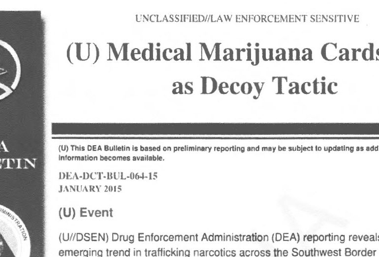 DEA Bulletin: Medical Marijuana Cards Used as Decoy Tactic, January 2015