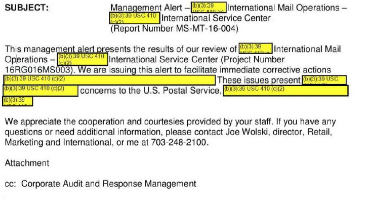 USPS Investigation: Management Alert – Inbound International Mail Operations – [Redacted] International Service Center, September 28, 2016
