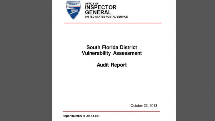 USPS Investigation: South Florida District Vulnerability Assessment Audit Report, October 22, 2013