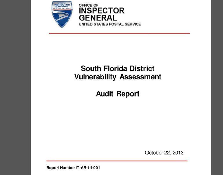 USPS Investigation: South Florida District Vulnerability Assessment Audit Report, October 22, 2013