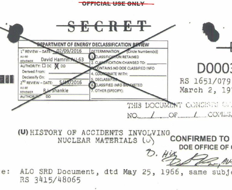 Summaries of Nuclear Weapon and Material Accidents – Department of Energy – National Nuclear Security Administration