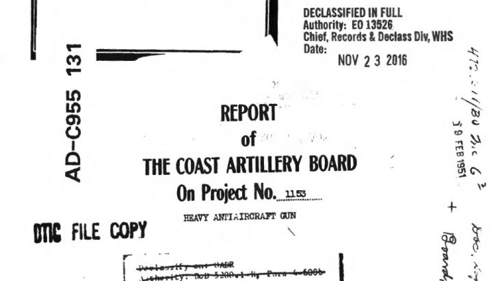 Report of the Coast Artillery Board on Project No. 1153, Heavy Antiaircraft Gun, March 9, 1939