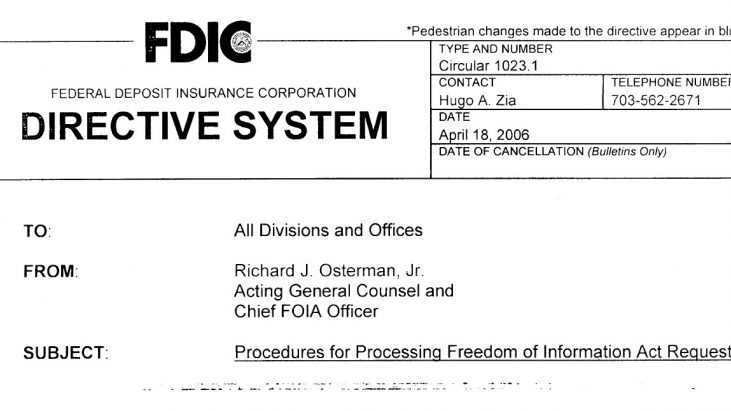 FDIC Circular 1023.1, Procedures for Processing Freedom of Information Act Requests, dated April 19, 2006