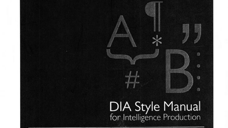 Defense Intelligence Agency (DIA) Style Manual for Intelligence Publication, 2016