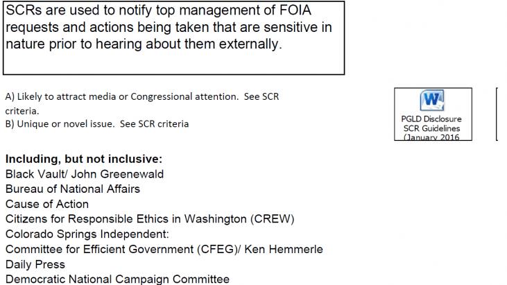 Sensitive Case Reports (SCRs) Regarding FOIA Requests at the Internal Revenue Service (IRS)