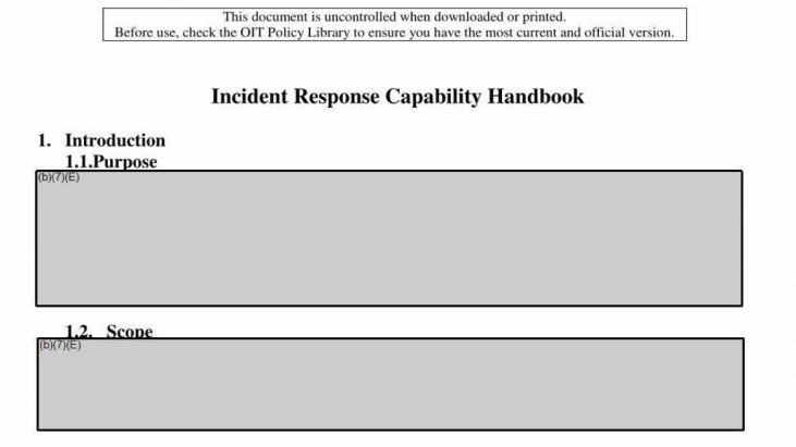 "Securities Exchange Commission (SEC) ""Incident Response Capability Handbook"" – April 2014"