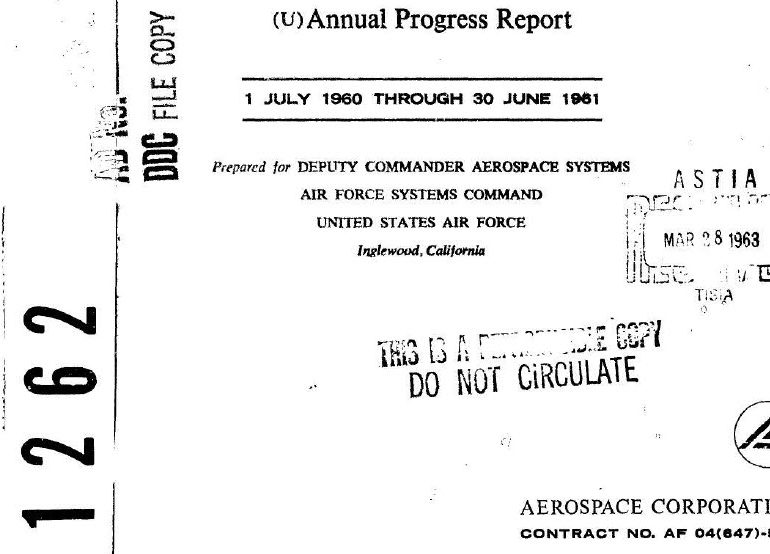 Annual Progress Report, 1 July 1960 – 30 June 1961, Aerospace Corporation