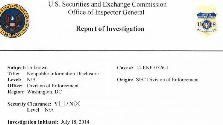 Securities and Exchange Commission (SEC) Case #14-ENF-0726-I – Improper Disclosure of Nonpublic Information