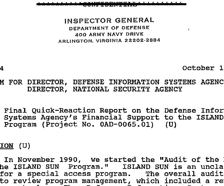 Final Quick-Reaction Report on the Defense Information Systems Agency's Financial Support to the ISLAND SUN Program, October 1991