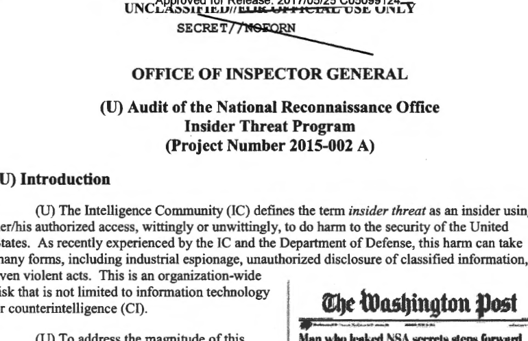 Audit of the National Reconnaissance Office Insider Threat Program (Project Number 2015-002 A), 30 April 2015