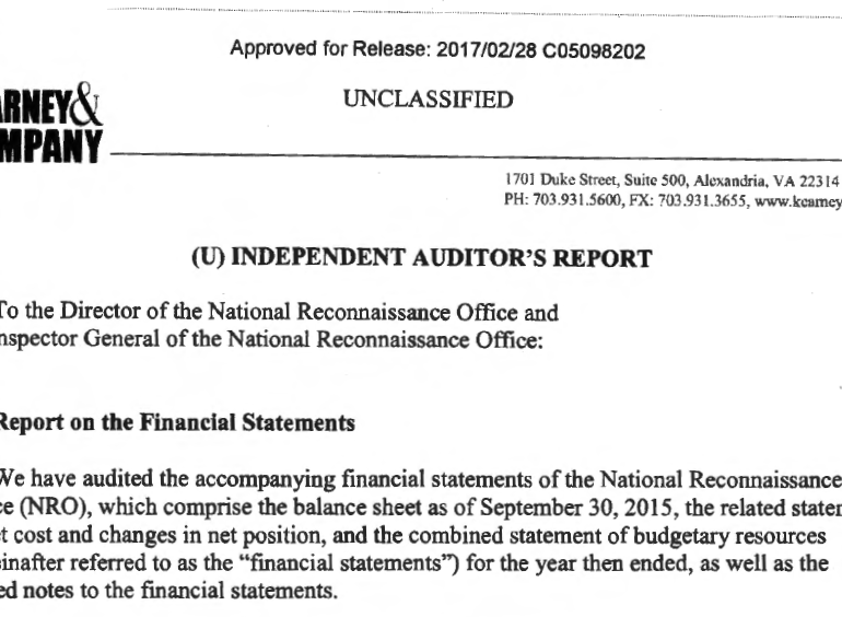 Audit of the National Reconnaissance Office Fiscal Year 2015 Financial Statements, 13 November 2015