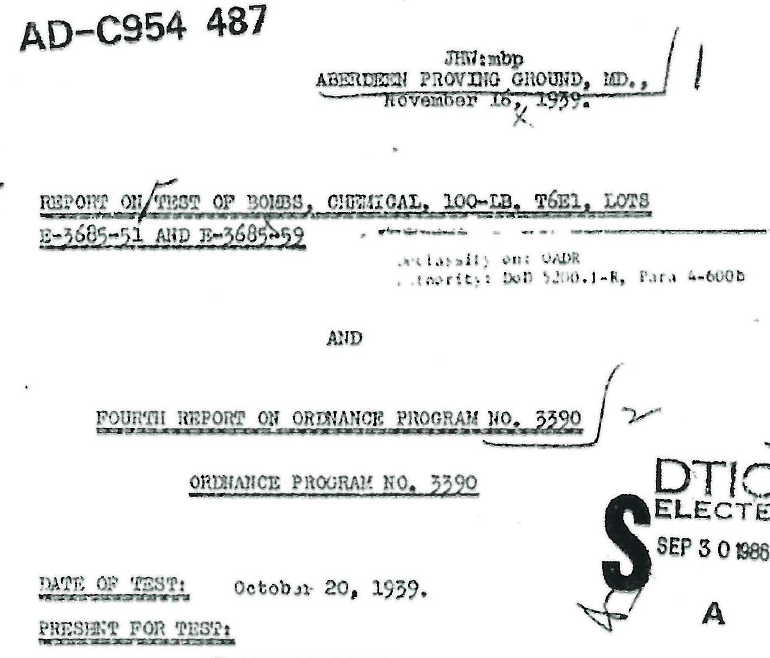 Report on Test of Bombs, Chemical, 100-LB, T6E1, Lots E-3685-127 and E-3685-128, December 15, 1939
