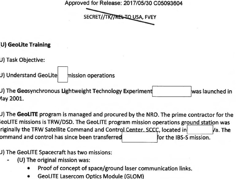 Flight Ops GeoLITE Training, May 2009 (Declassified May 2017)