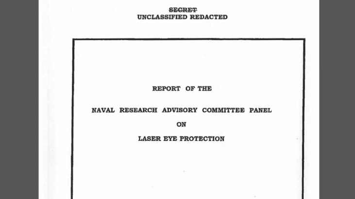 Report of the Naval Research Advisory Committee Panel on Laser Eye Protection, April 1988