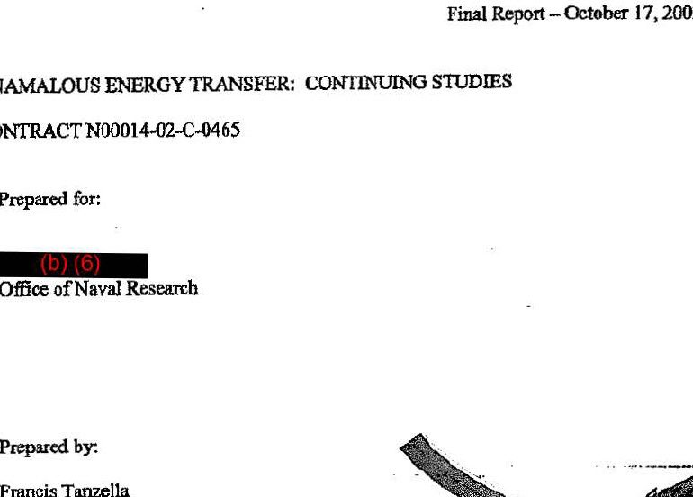 ANAMALOUS (sic) [ANOMALOUS] ENERGY TRANSFER: CONTINUING STUDIES, October 17, 2003