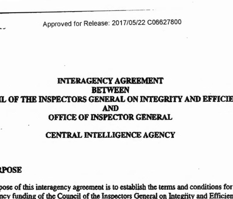 The Central Intelligence Agency (CIA) and the Council of the Inspectors General on Integrity and Efficiency (CIGIE)