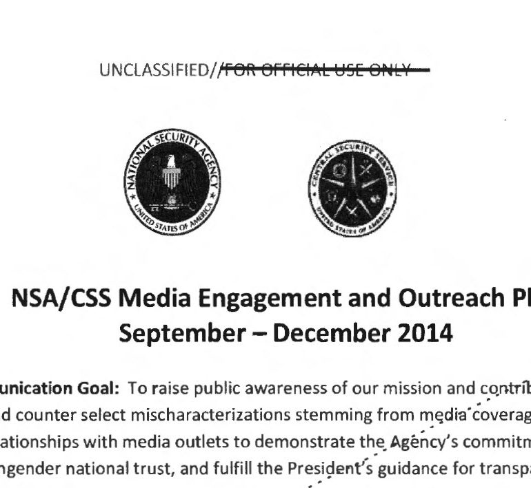 NSA/CSS Media Engagement and Outreach Plan, September – December, 2014