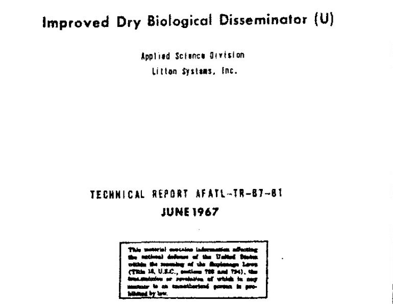 Improved Dry Biological Disseminator, June 1967