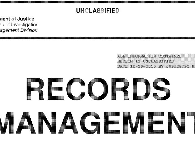 The Federal Bureau of Investigation (FBI) Records Management User Manual, May 2015