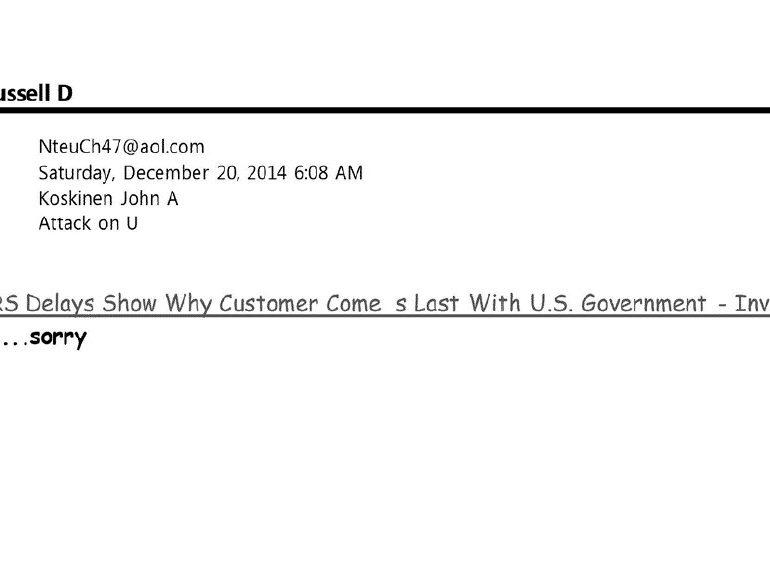 IRS Commissioner John Koskinen E-Mails Containing The Keyword: MORON