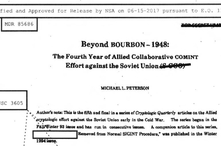 Beyond BOURBON-1948: The Fourth Year of Allied Collaborative COMINT Effort Against the Soviet Union, 1995 (Result of 2017 MDR Request)