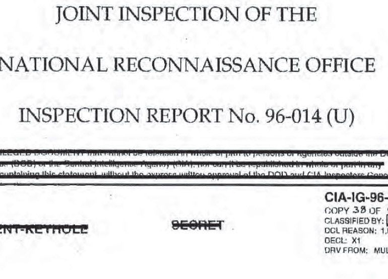 1996 Joint Inspection of the National Reconnaissance Office, Inspection Report No. 96-014, 23 July 1996