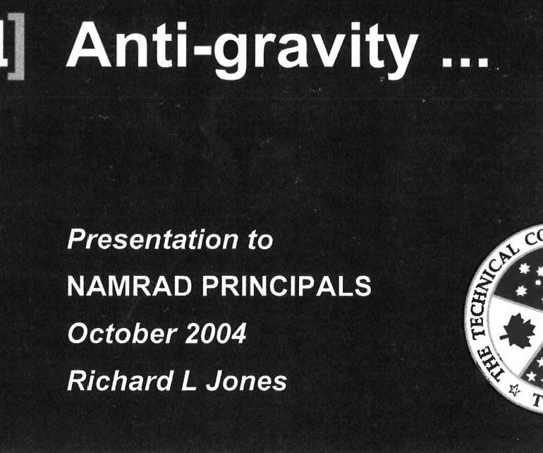 Anti-gravity Presentation, October 2004 – Non-Atomic Military Research And Development (NAMRAD)