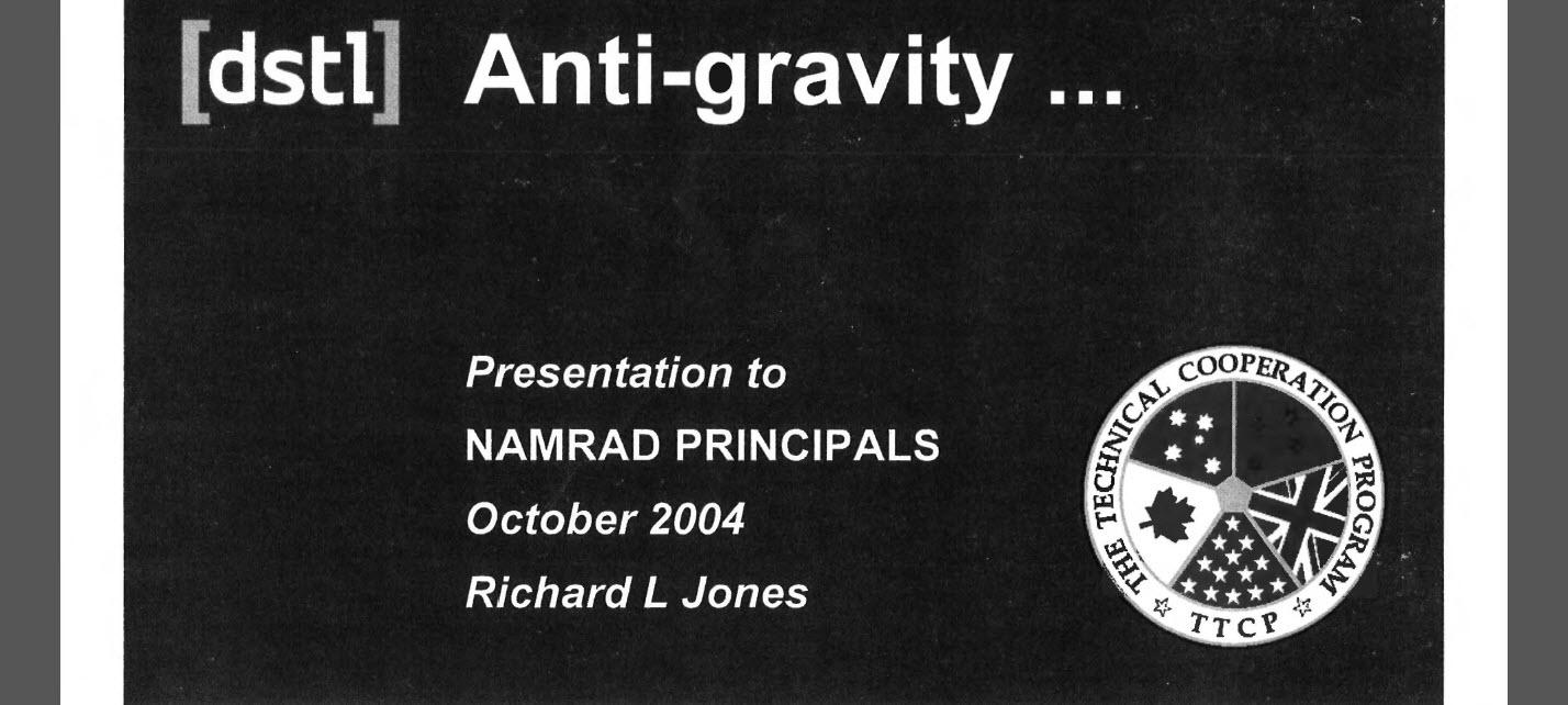 Anti-gravity Presentation, October 2004 - Non-Atomic