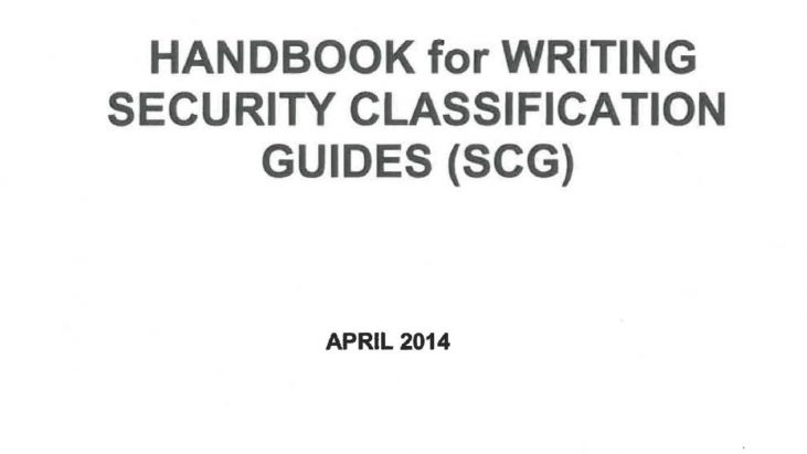 NASA Handbook for Writing Security Classification Guides, April 2014
