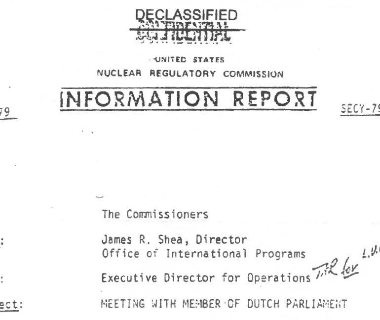 Nuclear Regulatory Commission Information Report, April 15, 1979, Meeting with Member of Dutch Parliament