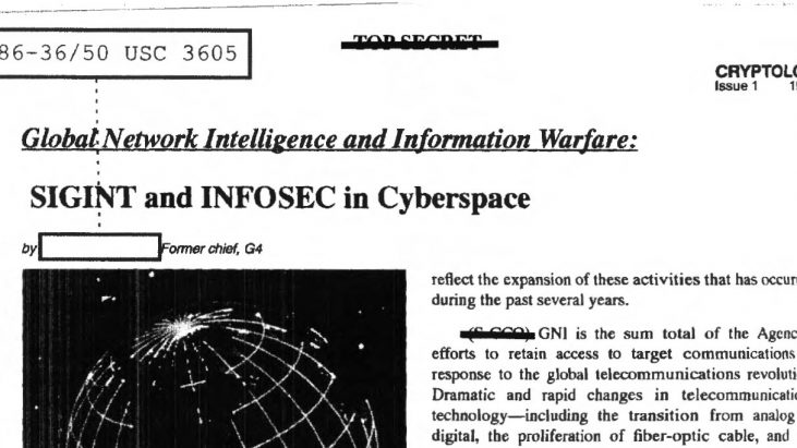 Global Network Intelligence and Information Warfare: SIGINT and INFOSEC in Cyberspace, 1995