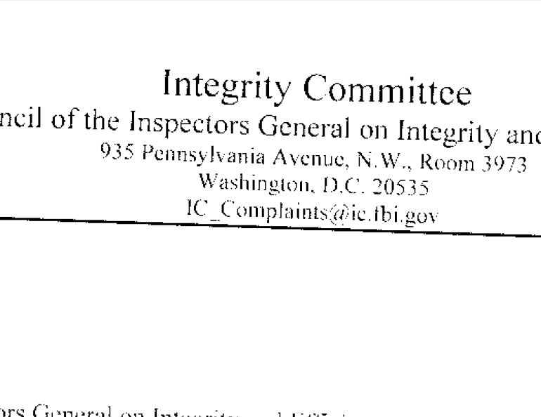 Integrity Committee – Annual Reports – 2006 – April 2016