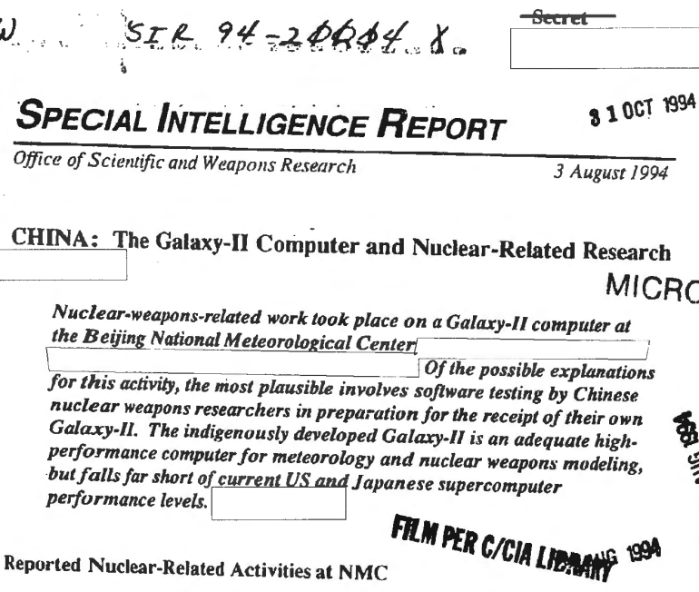 China: The Galaxy-II Computer and Nuclear-Related Research, August 3, 1994