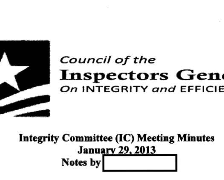 The Council of the Inspectors General on Integrity and Efficiency (CIGIE) Meeting Minutes